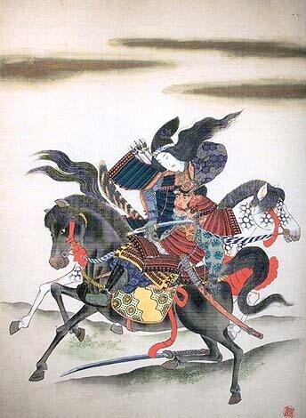 Томоэ гозэн (巴 御前) отсекает голову Моросигэ Онда.