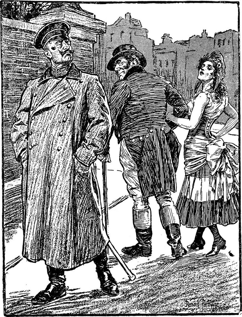 "sour German point of view on the British-French ""Entente Cordiale"" of 1904 -- John Bull walks off with the trollop France (in her scandalously short tricolor skirt, whose red and blue colors are indicated by the conventions of heraldic ""hatching""), while"