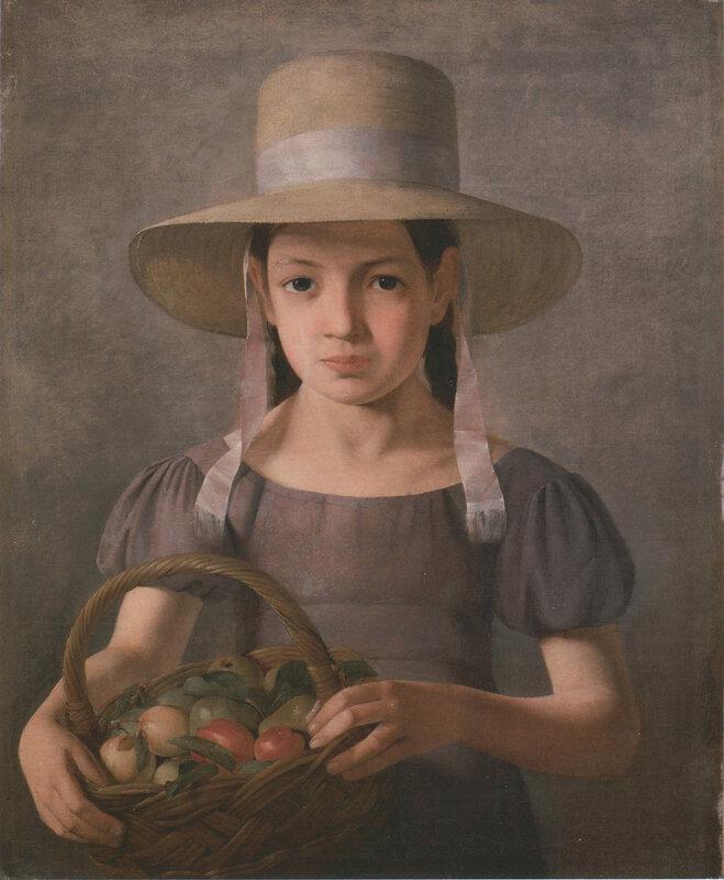 Девочка с корзиной фруктов