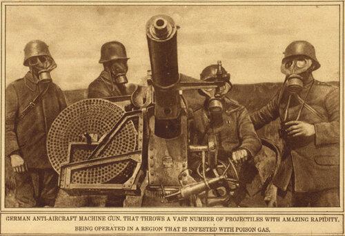 Немецкие солдаты в противогазах, 1915
