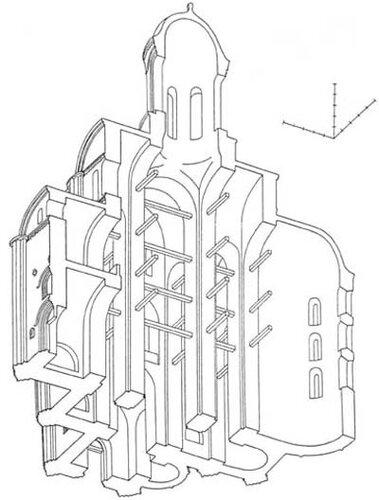 Церковь архангела Михаила в Смоленске, аксонометрический разрез