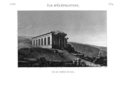 Древнеегипетский город Элефантина, южный храм, общий вид, гравюра наполеоновской экспедиции