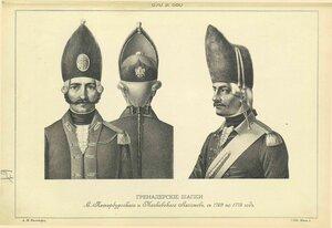 670 и 680. ГРЕНАДЕРСКИЕ ШАПКИ Петербургского и Московского Легионов, с 1769 по 1775 год.