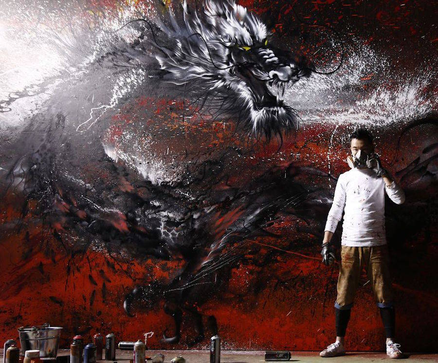Wall Mural Dragon Graffiti