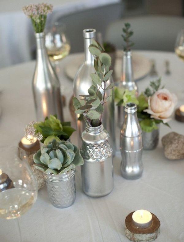 Стеклянные бутылки, как свадебный декор