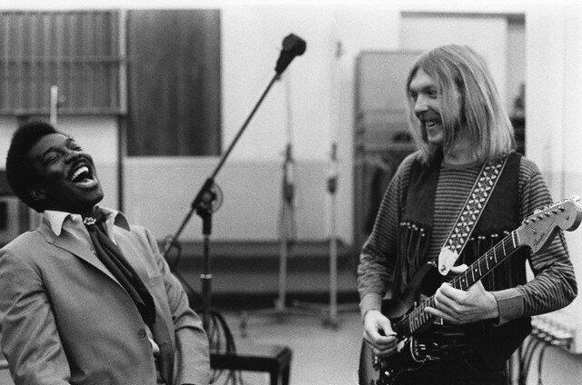 Musicians Wilson Pickett (left) and Duane Allman