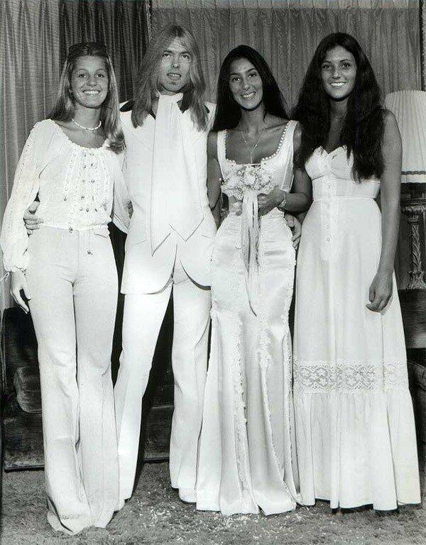 1975– Gregg Allman & Cher's wedding photos.