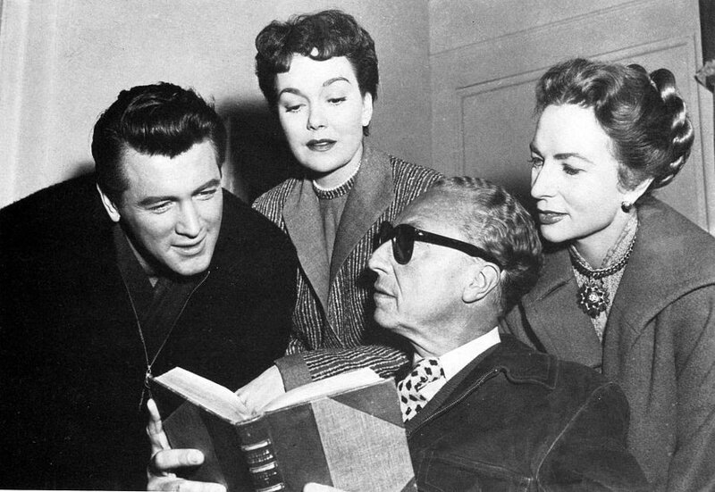 Douglas Sirk reads to Rock Hudson, Jane Wyman, and Agnes Moorehead