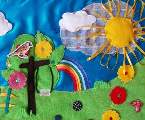 Большой развивающий коврик... Дерево, радуга, солнце