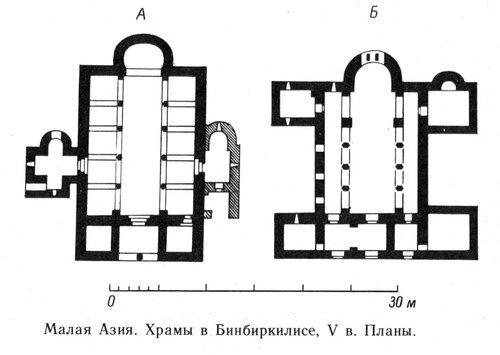 Планы храмов в Бинбиркилисе V века, Малая Азия