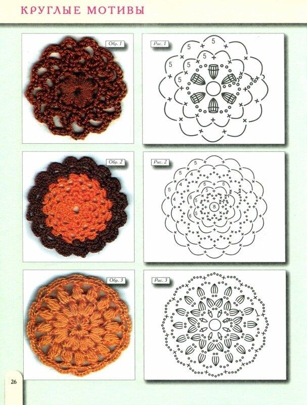 круглые мотивы крючком, схемы.