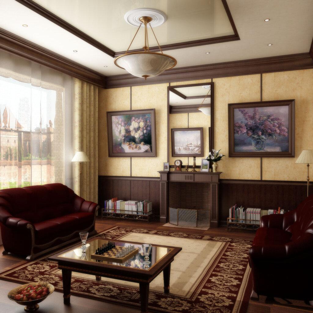 Дизайн комнаты с камином фото
