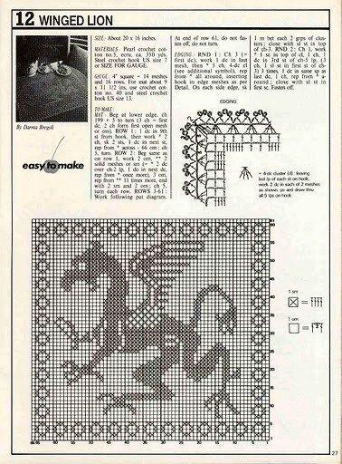 Следующий 2012 год - год Дракона.  Схемы филейного вязания драконов будут весьма кстати для вязания крючком и...
