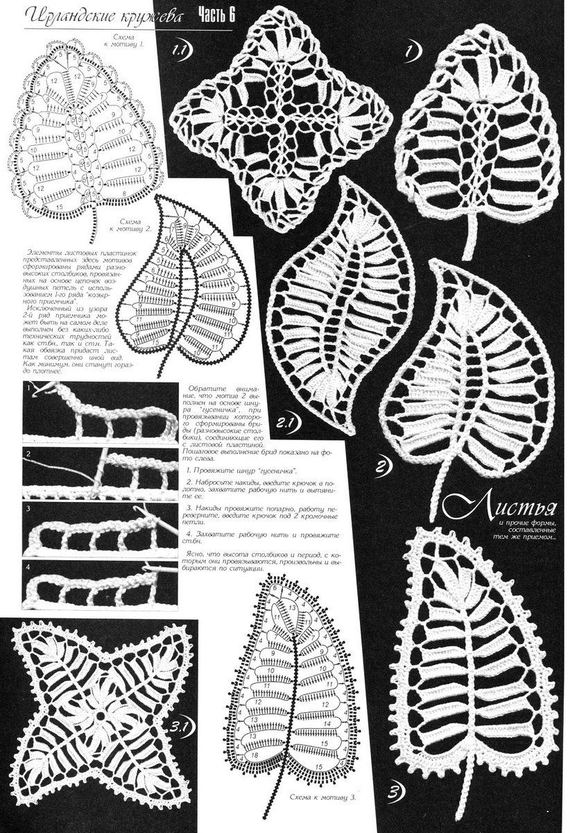 Ажурные листики ирландское кружево