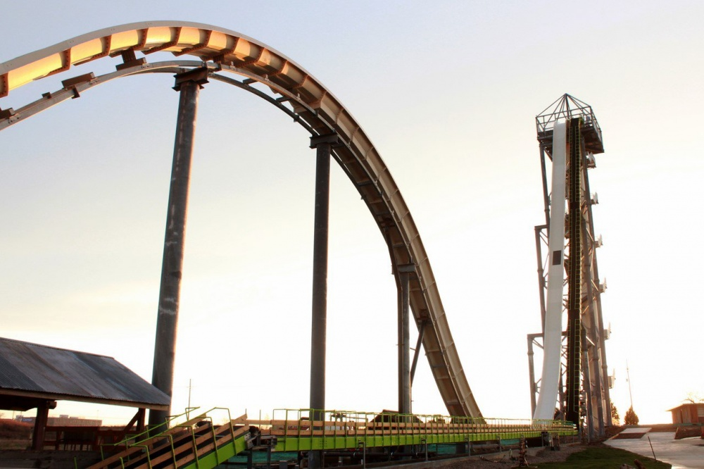 Verruckt, США. Самая высокая водная горка вмире. Высота— 51,38м.