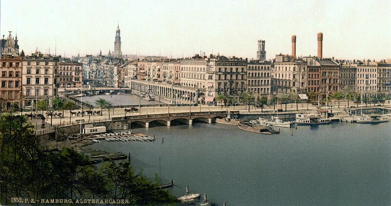 Альстерские аркады (на дальнем плане). Конец XIX века