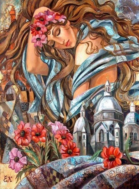 Девушка с красивыми глазами, с волосами, словно дивный лён. Художник Елена Хмелева