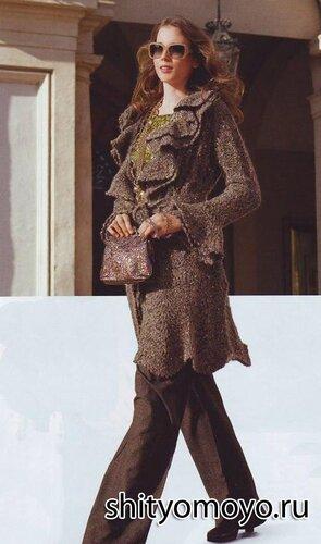 Модное меланжевое пальто