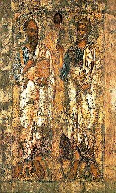Апостолы Пётр и Павел.  Икона середины XI века (1051-1100).  Новгородский музей.