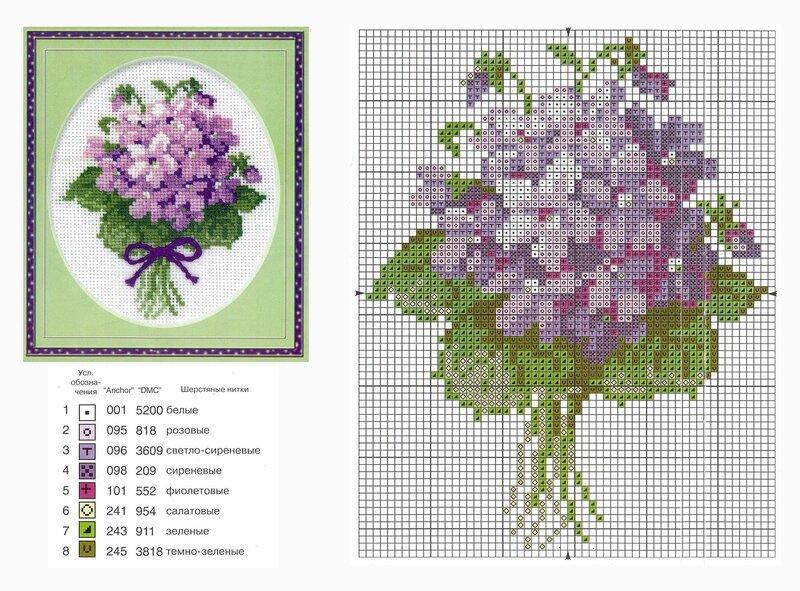 Цветы. цветы. схемы. вышивка крестиком.