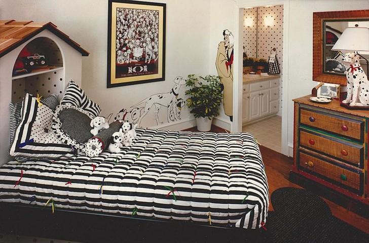 15. Чёрно-белая спальня для 101 долматинца Кабинет с элементами красного цвета, фон в горошек и неск