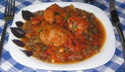 Тефтелі свино-курячі з овочами