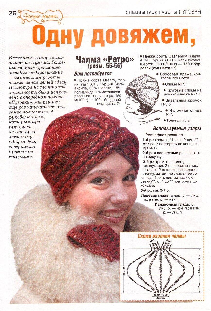 Схема шапки чалма спицами схемы