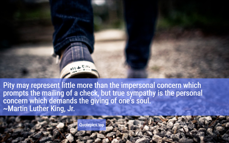Pity may represent little more than the impersonal concern which prompts the mailing of a check, but true sympathy is the personal concern which demands the giving of one's soul. ~Martin Luther King, Jr.