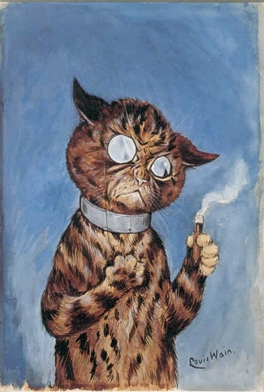 Excellent Louis Wain cat with a cigar.