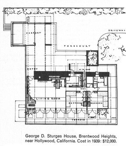 Дом Джорджа Д. Стурга (George D. Sturges House), архитектор Фрэнк Ллойд Райт, план