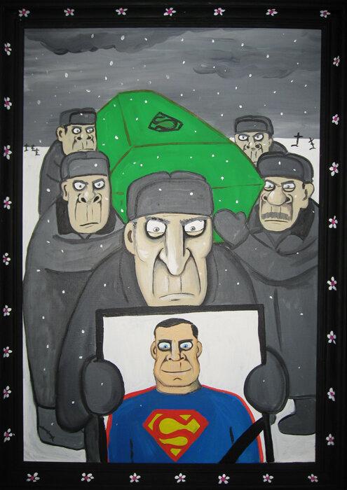 Советские рабочие хоронят Супермэна в закрытом криптонитовом гробу .