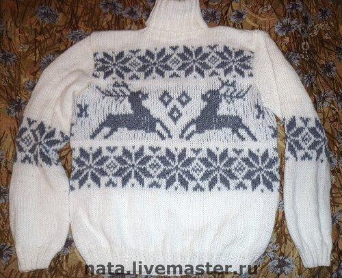 «свитер с оленями,ручная