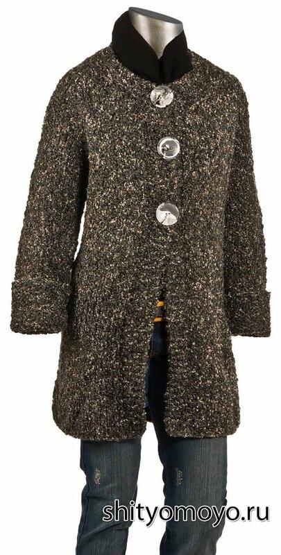 Пальто из пряжи букле с рукавом реглан. Описание бесплатно