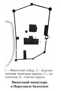 Никитский монастырь в Переславле-Залесском, генплан