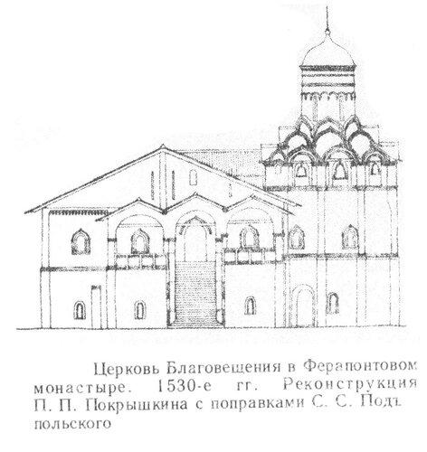 Церковь Благовещения в Ферапонтовом монастыре, фасад Реконструкция П.П. Покрышкина с поправками С. С. Подъяпольского
