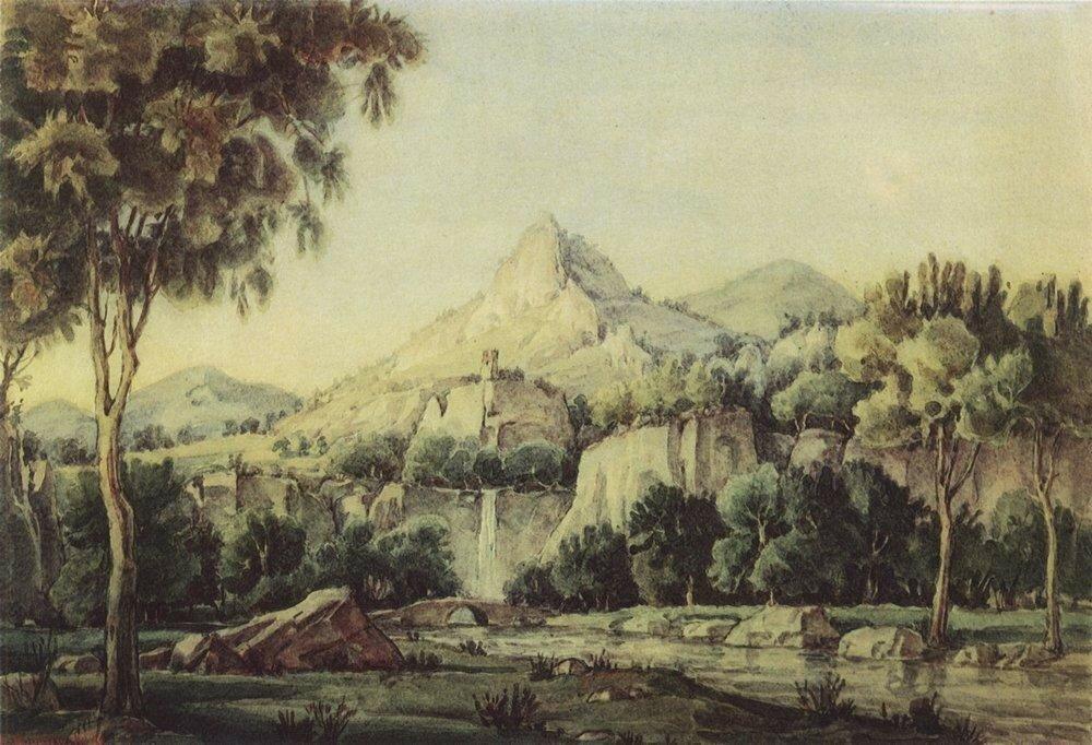 Пейзаж с водопадом и мостом. 1942.jpg