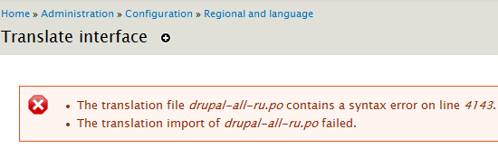 The translation file drupal-all-ru.po contains a syntax error on line 4143
