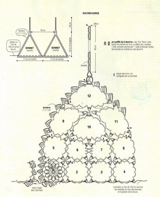 Схема вязания ажурного купальника.