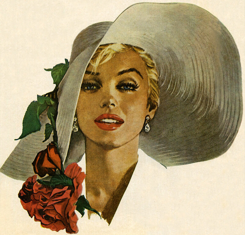 Jon Whitcomb painting of Marilyn Monroe for American Weekly magazine 1958