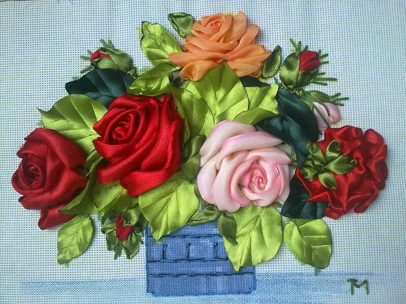 Основа канва, розы из атласных