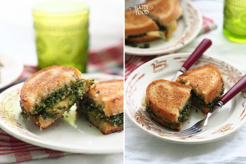 Сырный сэндвич с бри, песто из фисташек и кале