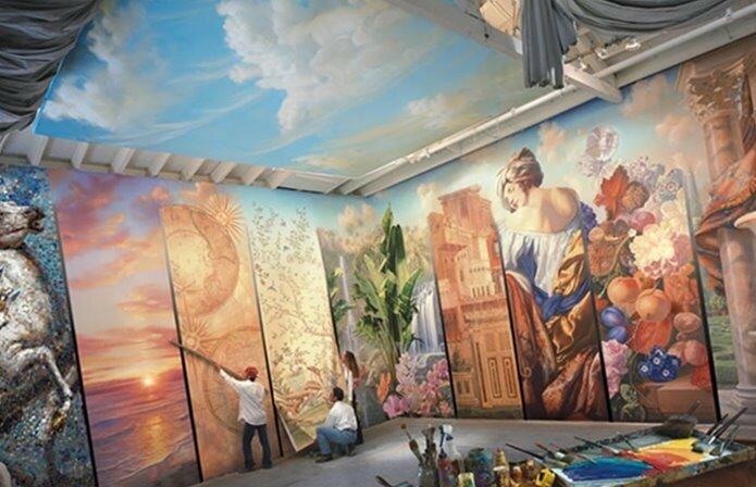 Украшение стен росписью и картинами