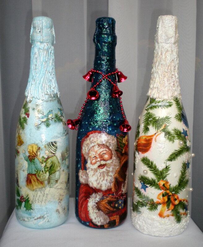 Новогодние бутылки шампанского своими руками