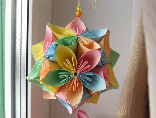 Как сделать шар из цветов из бумаги своими руками