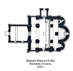 Церковь Бориса и Глеба. Кидекша. Суздаль, план