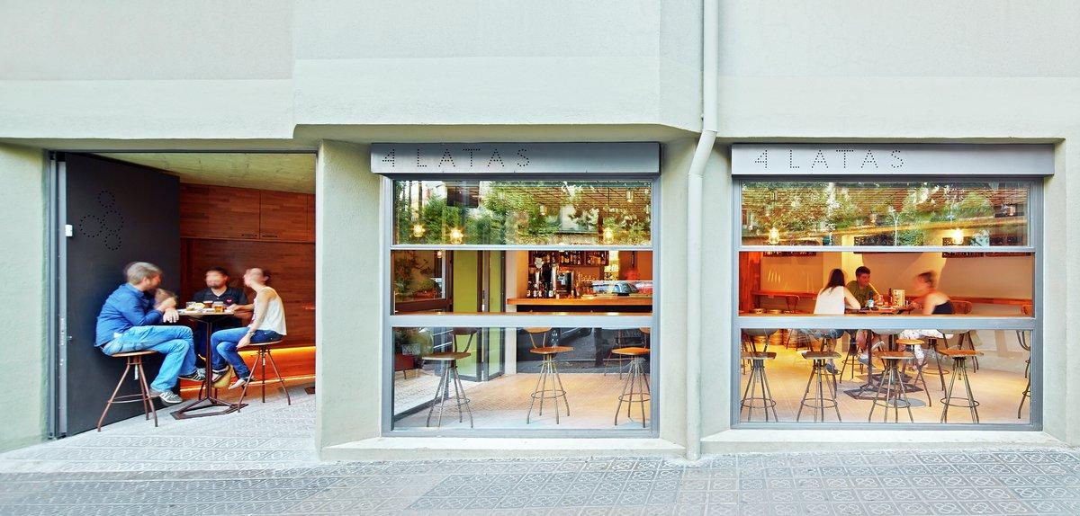 Tapas Bar 4 Latas, Victor Sala, Pepe Gascon, оформление бара фото, интерьер кафе фото, идеи оформления кафе, необычное оформление бара, кафе в Барселоне