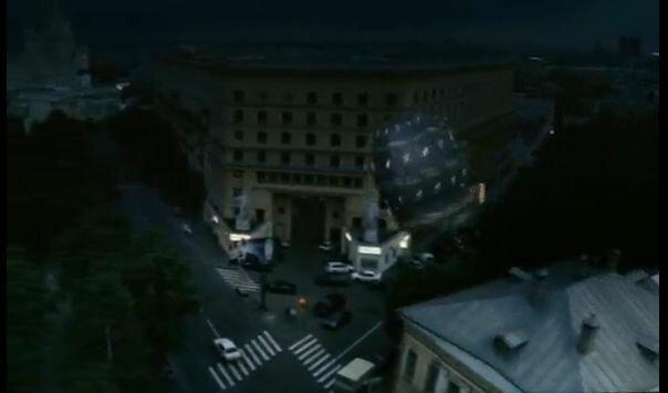 """Хитровка в кадрах из фильма """"Азирис Нуна"""". 2006 год. Взлёт Хроноскафа над домом Телешова."""