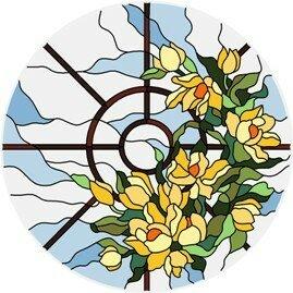 Витражный потолок художественный заливной (рисунок на стекле), d 1м, арт.CN0012, изготовление под заказ.