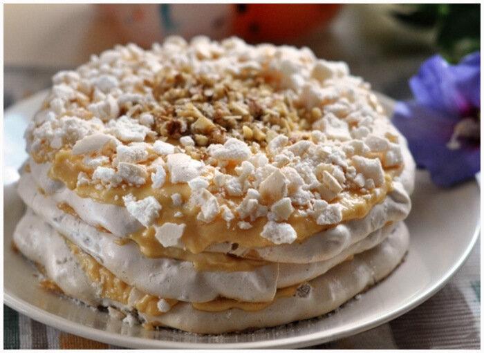 Ореховый торт-безе с заварным кремом