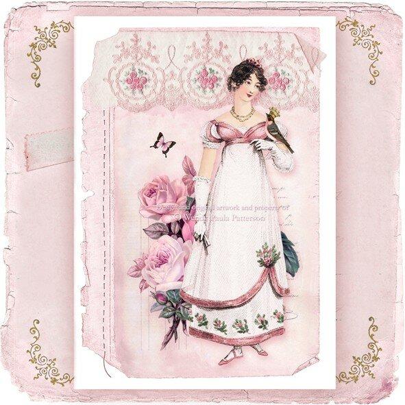Винтажные дамы в платьях для открыток